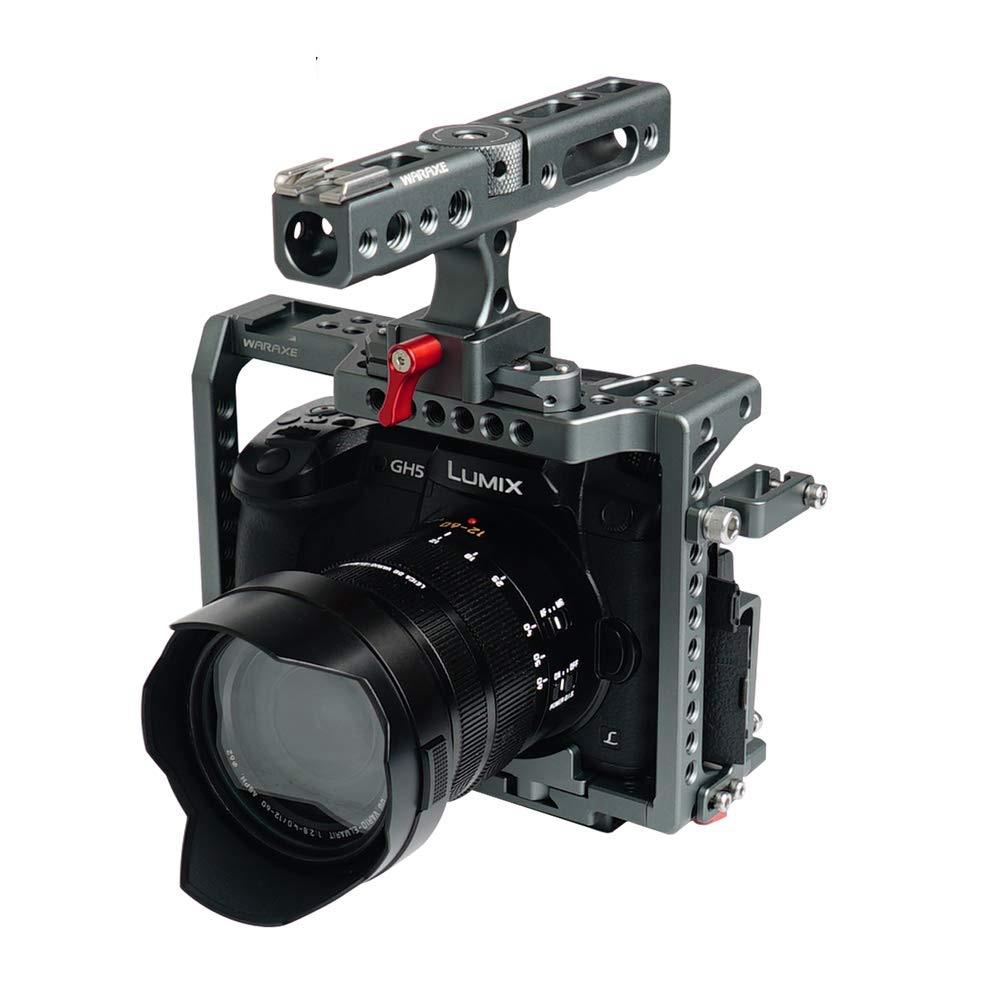 WARAXE GH5S Kit vidéo Cage de caméra intégrée à dégagement rapide avec poignée otan convient à Arca Swiss pour Panasonic Lumix GH5 GH4 GH5S