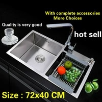 free shipping 304 stainless steel kitchen sink thick dishwashing ordinary double groove 72x40 cm