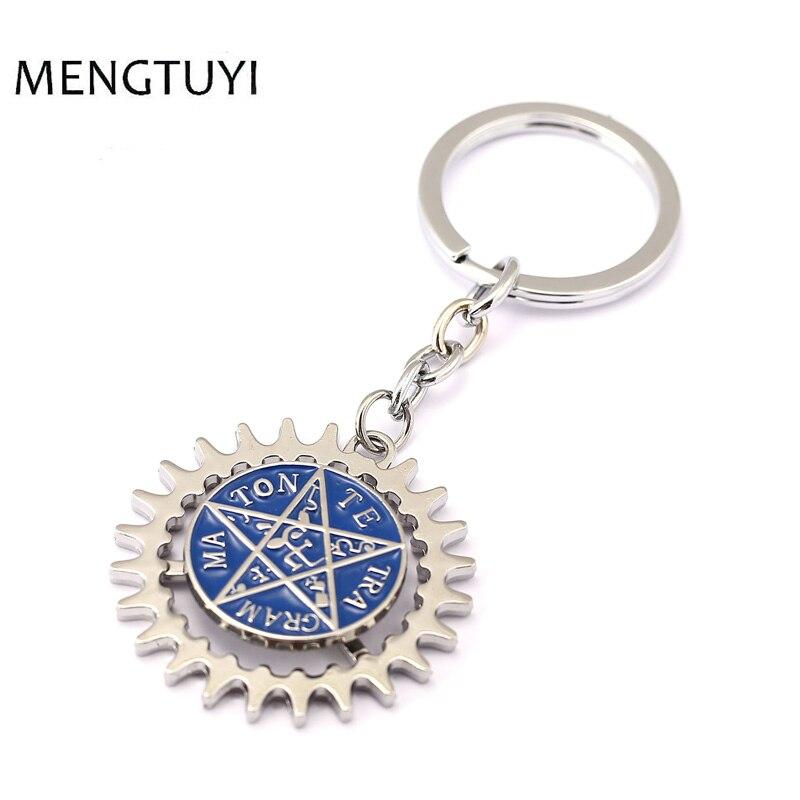 J tienda de Anime negro Butler llavero pentagrama logotipo Ciel Sebastián acción ronda de llave de aleación de anillo de porte clef Chaveiro