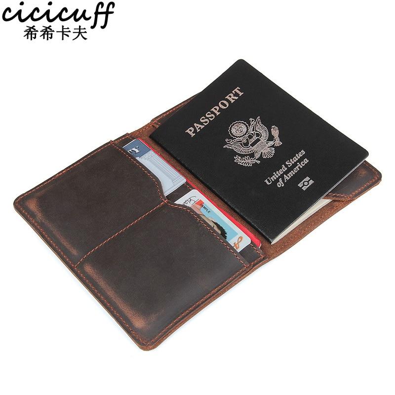Чехол для паспорта CICICUFF, винтажный из натуральной воловьей кожи, держатель для карт, чехол для документов, дорожный кошелек