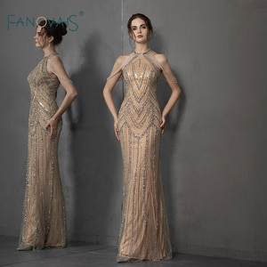 Champagne Mermaid Evening Dress 2019 Luxury Beaded Halter Formal Evening Gown Floor Length Sexy Prom Dress Vestido de Festa NE88