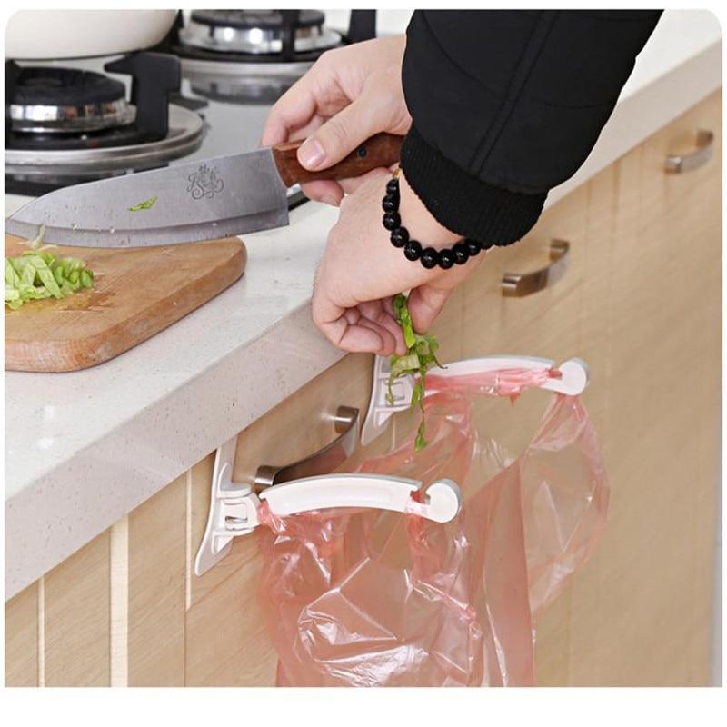 New Qualified Dropship 1Pair Kitchen Door Cabinet Hook Rack Trash Bags Storage Garbage Handbag Rack Sep19