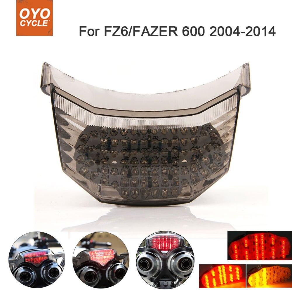 Luz trasera LED integrada para motocicleta, intermitente de señal de giro de freno para Yamaha FZ6 FAZER 600 2004-2014