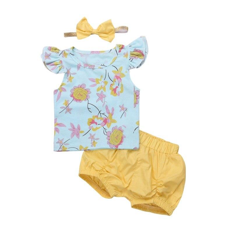 3 uds. Ropa de verano para bebés recién nacidos, camiseta de flores sin mangas + pantalones cortos de color liso + trajes de diadema Bebek Giyim, conjunto de ropa para niños pequeños