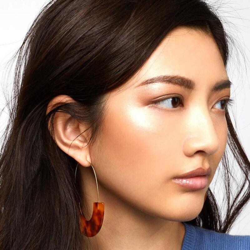 Купить с кэшбэком New leopard print U shape Dangle Earrings For women Geometric Acrylic Acetic Acid Statment Drop Earring 2019 Bohemia Jewelry
