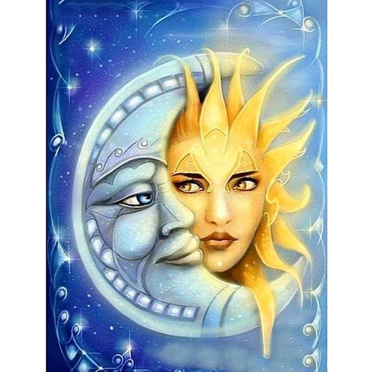 5d diy diamond painting cross stitch landscape Resin Diamond Embroidery diamond moasic Needlework Sun and Moon