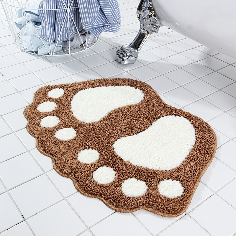 Pie impresión no-slip de baño alfombras de baño inodoro alfombra lavable Tapete Banheiro baño almohadilla de alfombra microfibra cocina Anti- slip Mini Mat