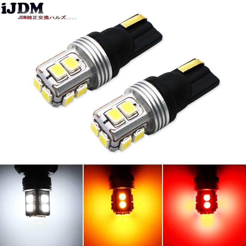 IJDM Canbus LIBRE DE ERRORES T10 W5W LED 10SMD LED COCHE Auto para luces de matrícula, también luces de posición de estacionamiento, luces interiores