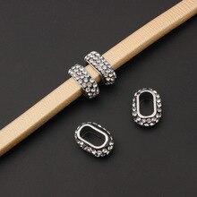10 pièces argent couleur cristal strass perles curseur entretoise pour 10*6mm réglisse cuir cordon Bracelet à bricoler soi-même fabrication de bijoux