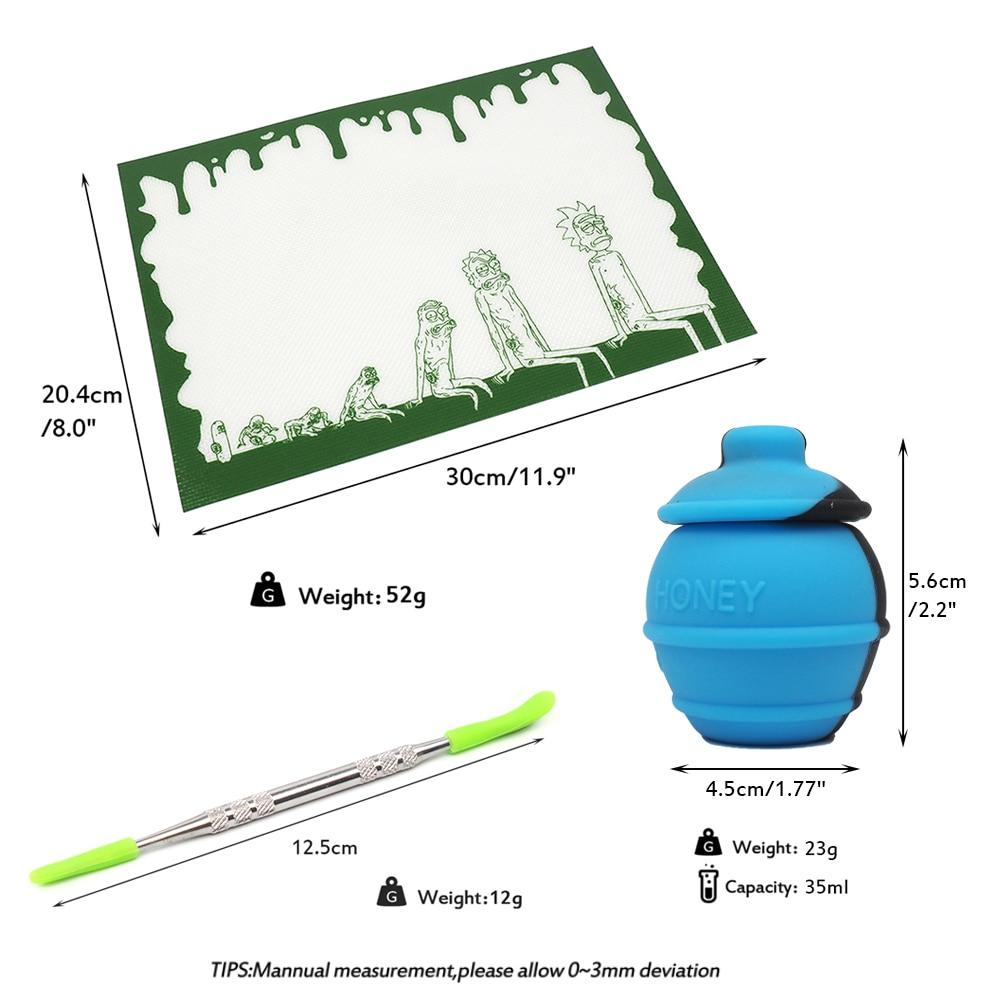Juego de hojas de silicona antiadherentes de 12x8 almohadilla de cera alfombrilla de fibra de vidrio rectangular resistente al calor contenedor de aceite de miel y herramienta dab