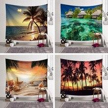 Bosque tapices casa agua planta océano pared colgante playa 3D boda paisaje decoración manta rectángulo poliéster nueva variedad