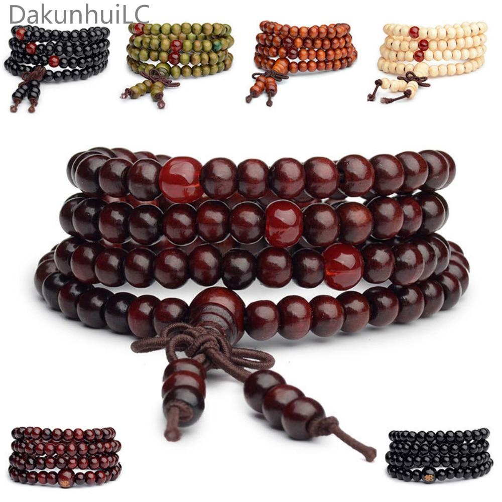 Pulseras 108 Perlen 6mm Natürliche Sandelholz Buddhistischen Buddha Holz Gebetskette Mala Unisex Männer Armbänder & Armreifen Schmuck Bijoux