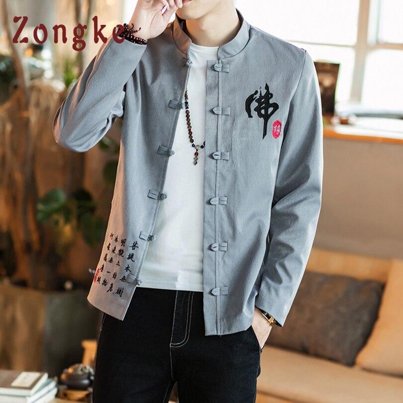 Zongke Chinese Style Buddha-Word Embroidery Jacket Men Streetwear Clothes Bomber Jacket Men Hip Hop Men Jacket Coat 4XL 2020 New