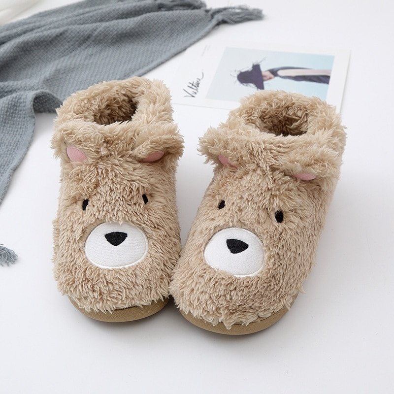 Autumn winter New Female Animal Slippers Women Soft Warm Indoor Home&House TPR Slip Bottom Brown Plush Bear  House Slippers