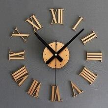 Horloge murale chiffres romains 3D   Pratique, bricolage de luxe, horloge artistique de grande taille pour décoration de maison (couleur, or)