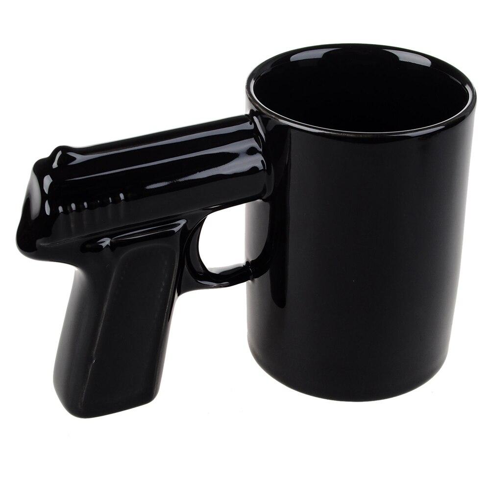 1 sztuka rękojeść pistoletowa kubki do kawy i kubki Funny Gun kubek filiżanka do mleka i herbaty kreatywne biuro ceramiczny kubek do kawy Drinkware