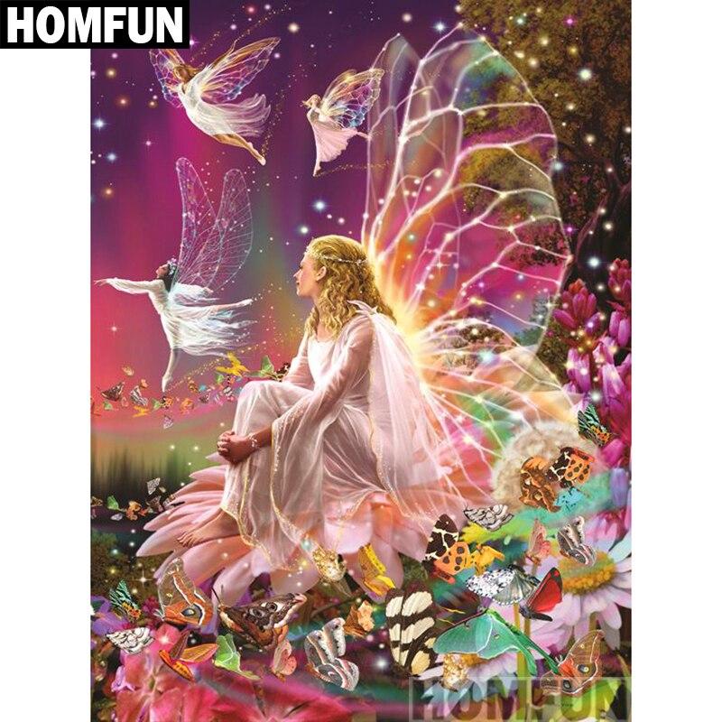 "HOMFUN cuadrado completo/taladro redondo 5D DIY diamante pintura ""mariposa Hada"" 3D bordado punto de cruz 5D hogar Decoración A00926"