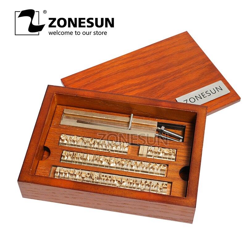 ZONESUN, logotipo personalizado, DIY, Letra de Metal, número, símbolo, conjunto de cuero, herramienta de grabado de hoja caliente, herramienta de marcado, molde de máquina de grabado en relieve de hierro