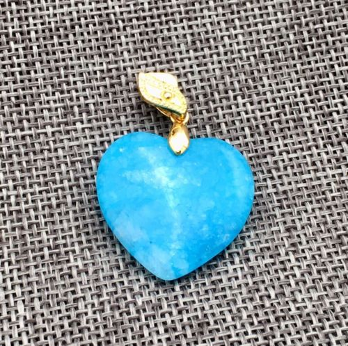 New Heart Blue Larimar jadeite Necklaces Pendant Alloy Gold plating 25x25mm