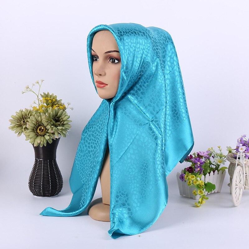 Moda cetim jacquard muçulmano cachecol metálico envoltório retro turbante quadrado hijabs islâmico feminino lenço com capuz 90x90cm