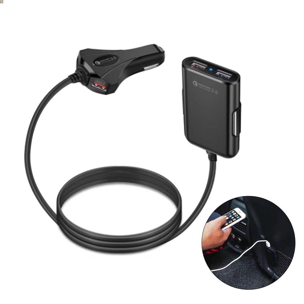 Siège avant/arrière 4 ports USB Charge rapide 3.0 chargeur de voiture pour iPhone Huawei 60W 12A chargeur de téléphone rapide pour Xiaomi Samsung