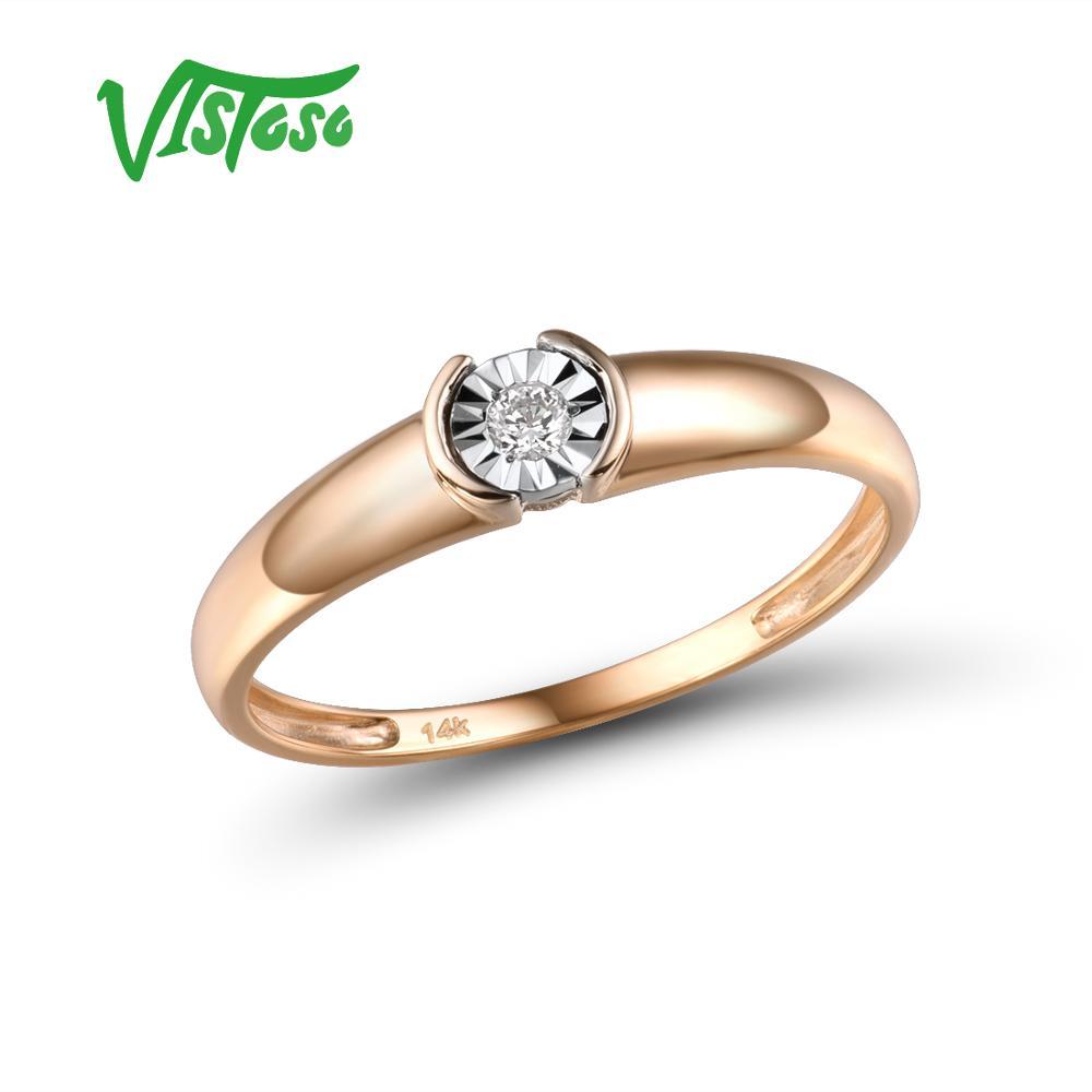 VISTOSO-خاتم ذهب 14 قيراط 585 مرصع بالألماس اللامع ، خاتم خطوبة ، لونين ، للنساء