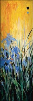 Hand Painted Golden Winged Garden II-Floral Oil Painting Wall Art-Modern Canvas Art Wall Decor