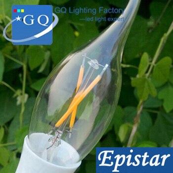10pcs/lot 2W E14 LED candle Light 85-265V LED Filament Light tungsten lighting lamp for crystal lamp