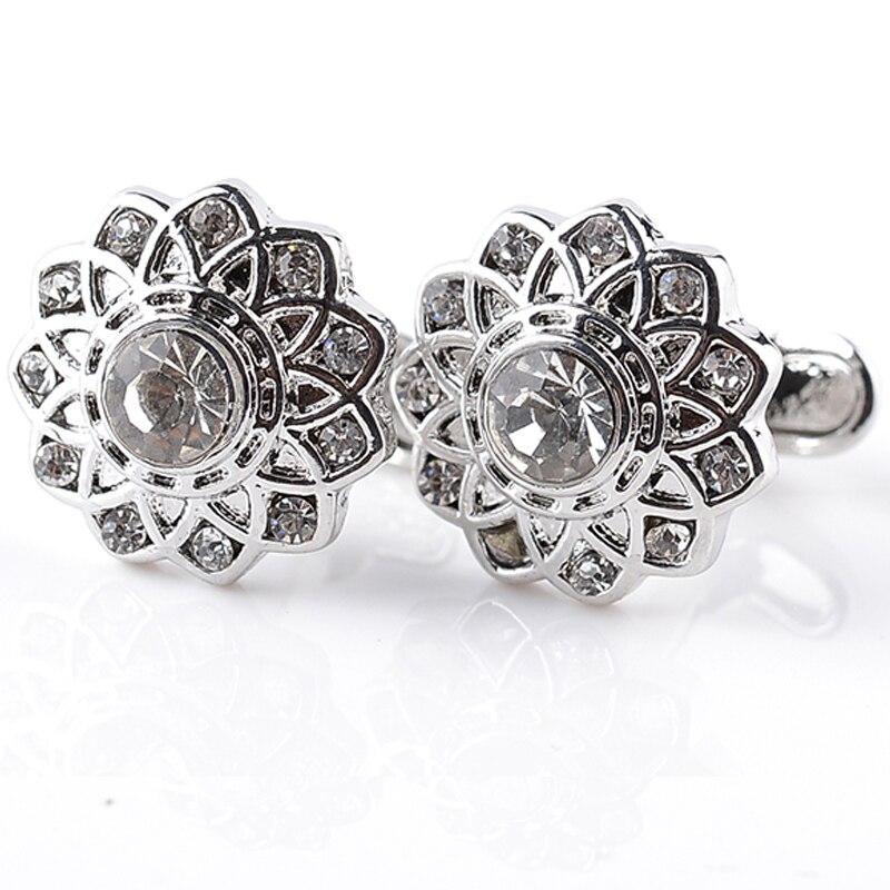 Alta qualidade novidade criativa do vintage oco flor forma de cristal abotoaduras presentes negócio requintado botão manguito