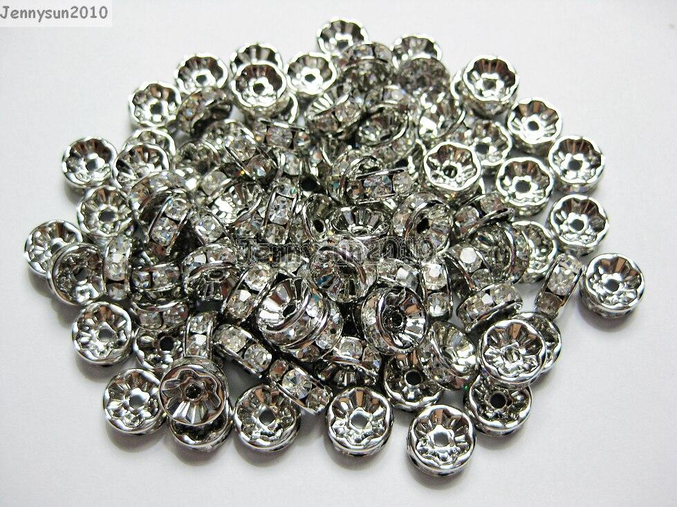 200 pcs/lot 4mm Top qualité tchèque clair cristal strass Pave Rondelle métal étain plaqué entretoise lâche perles fabrication de bijoux