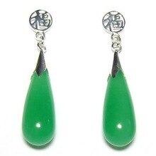 Boda fina Natural verde oscuro gema 925 buena fortuna Post pendientes AAA Ohrringe cuarzo cristal mujer venta directa de fábrica