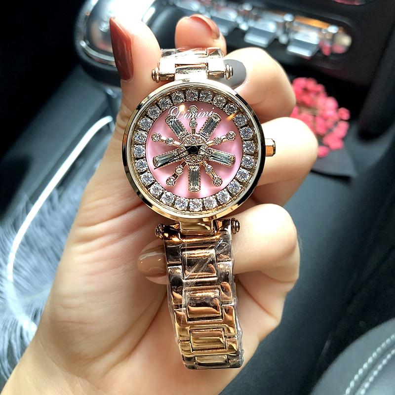 2019 Top Brand Rotation Women Rhinestone Watches Fashion Ladies Casual Dress Watch Women Elegant Luxury Quartz Watch Relogios enlarge