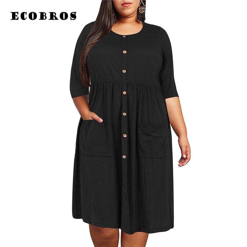 Vestido de verano talla grande 9XL para mujer talla grande MM 2020 vestido holgado diseño de bolsillo sólido vestidos de talla grande ropa de mujer vestidos