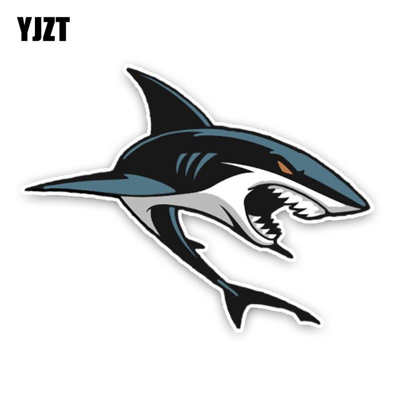 YJZT 14*10.5CM Interesting Lovely Sharks Cartoon Colored PVC Car Sticker Decoration Graphic C1-5347