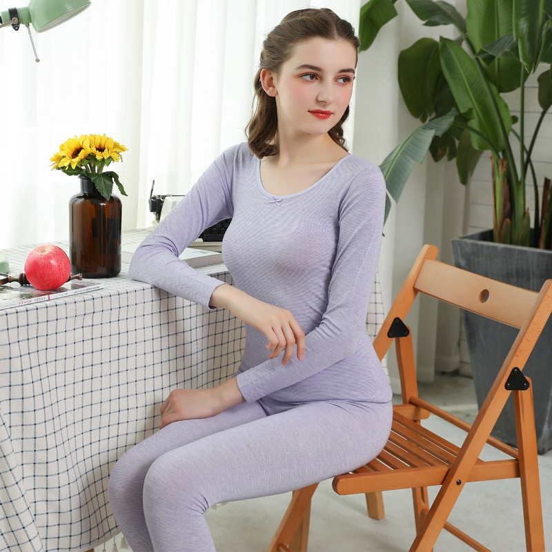Autumn and winter striped thermal underwear round neck autumn clothes long trousers women's thin section  bottoming body suit enlarge