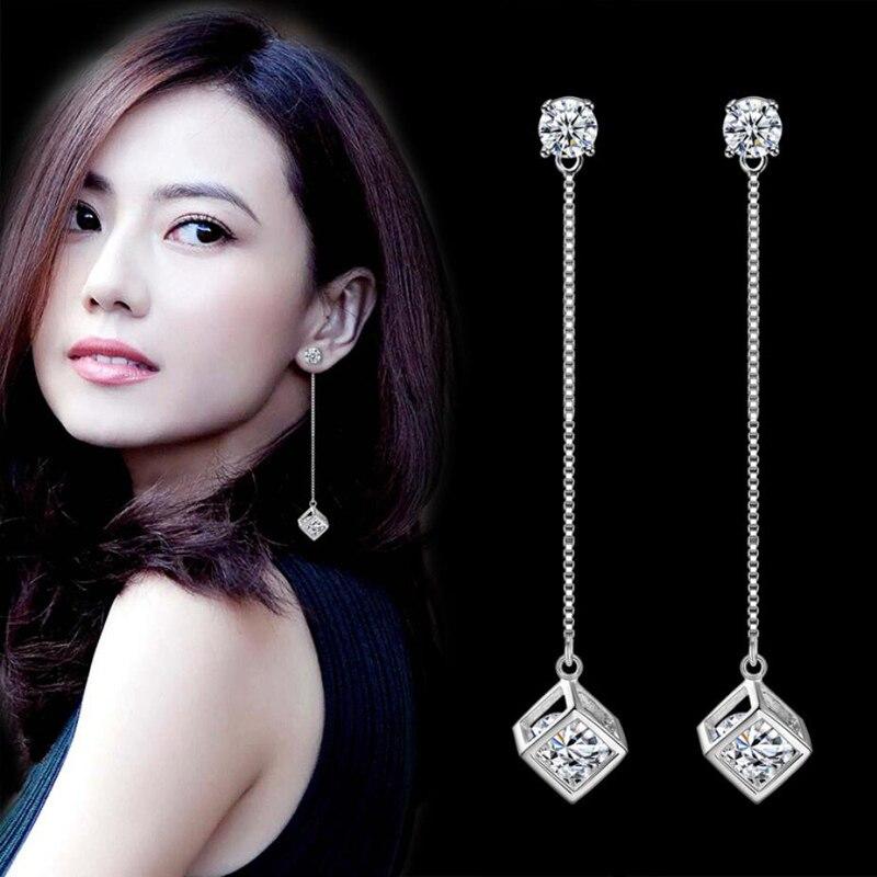 Kofsac popular 925 brincos de prata esterlina para as mulheres jóias de luxo aaa zircon cubo quadrado brinco senhora acessórios de noivado