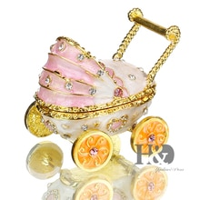 H&D 2.5'' Baby Pink Carriage Stroller Jewelry Trinket Box Bejeweled Keepsake Box Decor Crafts Handmade Enameled Decorative Gift