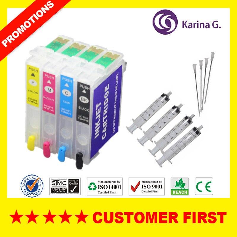 1Set recargable para T0431 T0441 Set de cartuchos de tinta para EPSON C84/C84WN/C86/CX6400/CX6600 C86/C64/C66/CX4600 con chip