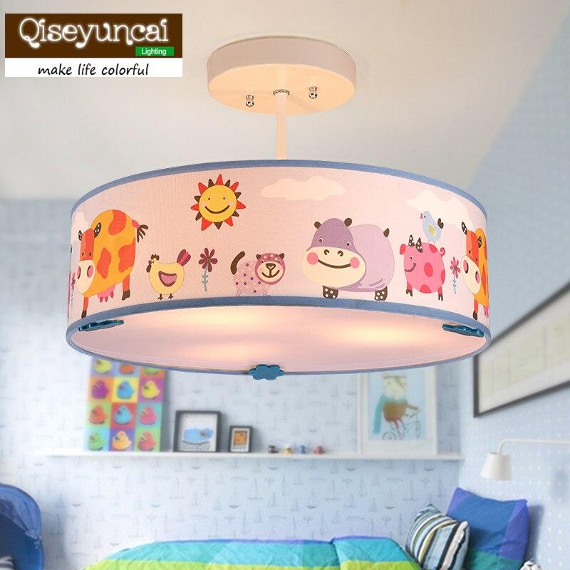 Qiseyuncai Children's room chandelier girl warm cute animal cartoon bedroom lamp boy creative garden room eye protection lamp