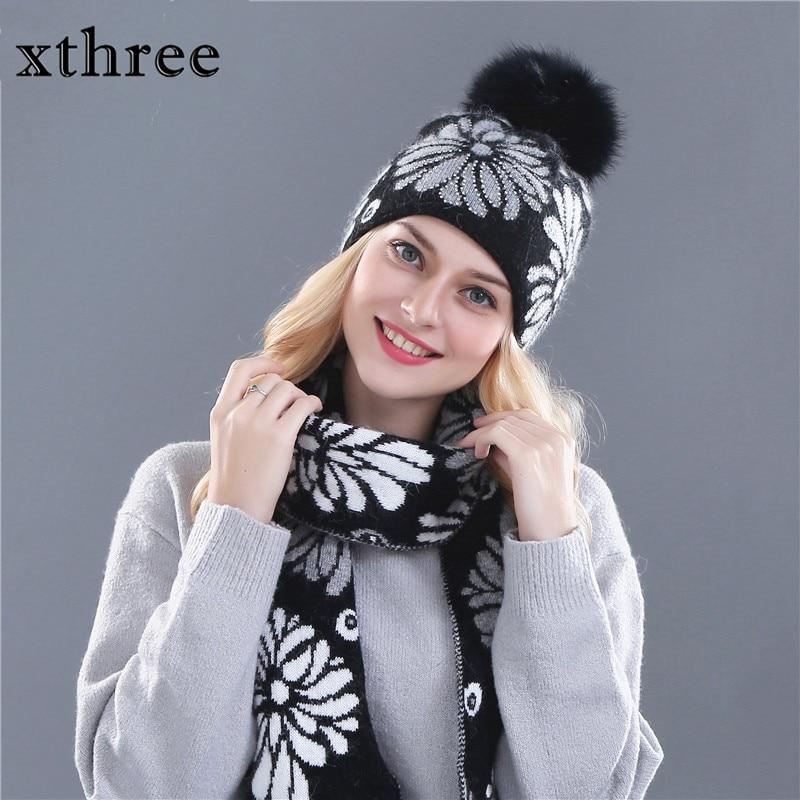 Женская зимняя шапка Xthree, шарф для шапочки для девочек, шерсть, вязаная шапка и помпоны из натурального меха 15 см