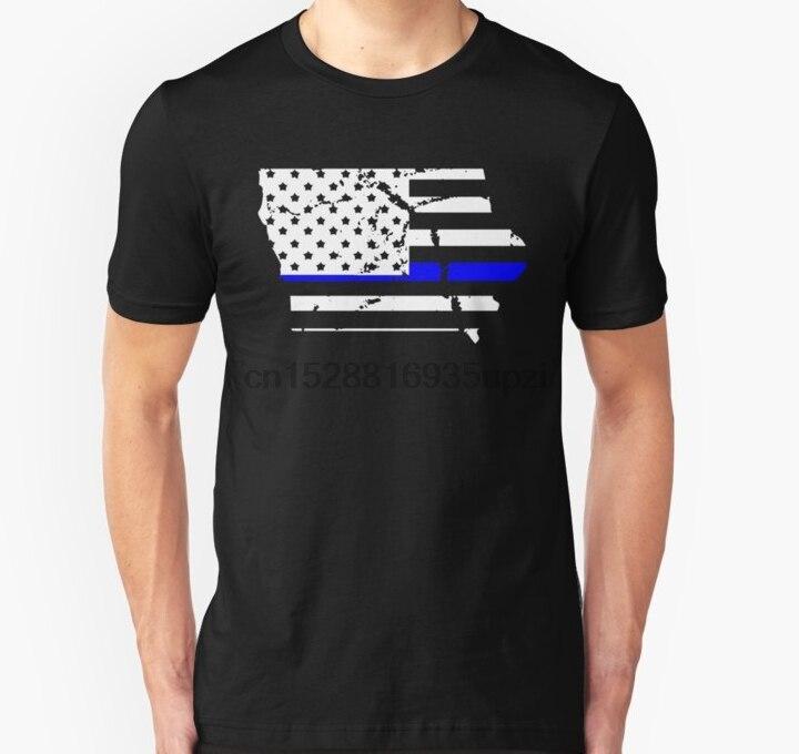 Camiseta de manga corta para hombre, camiseta fina de policía de Iowa, regalos de la bandera americana, camiseta de policía, camiseta para mujer