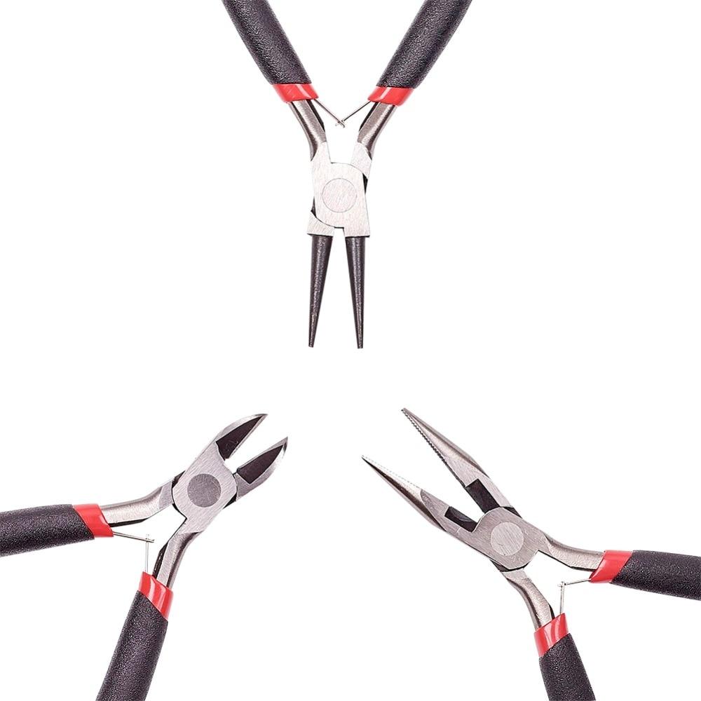 45 # de Acero Juegos de Herramienta de Joyería de BRICOLAJE: Alicates de punta Redonda, Cortador de alambre Alicates y Alicates de Corte Lateral, negro, 315x70x10mm; 3 unids/set
