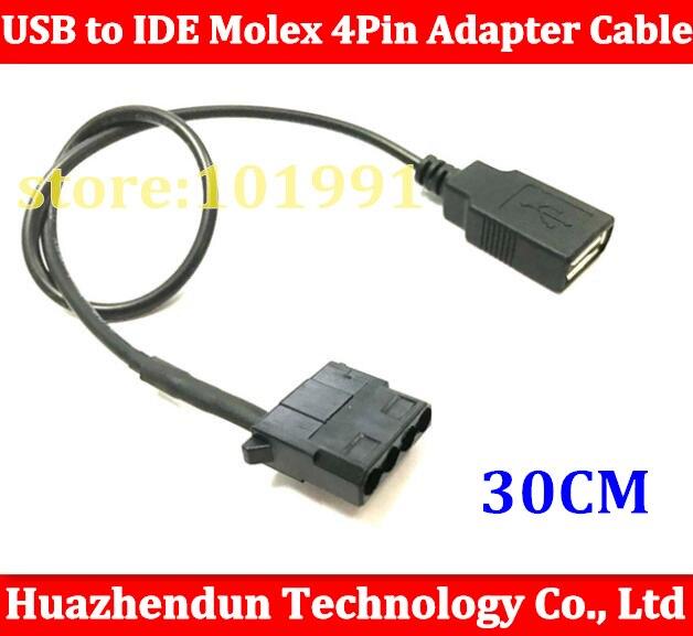 1 Uds USB hembra a IDE Molex Cable adaptador de 4 pines para ventilador de refrigeración del chasis, cambio de 12V a 5V 30CM envío gratis