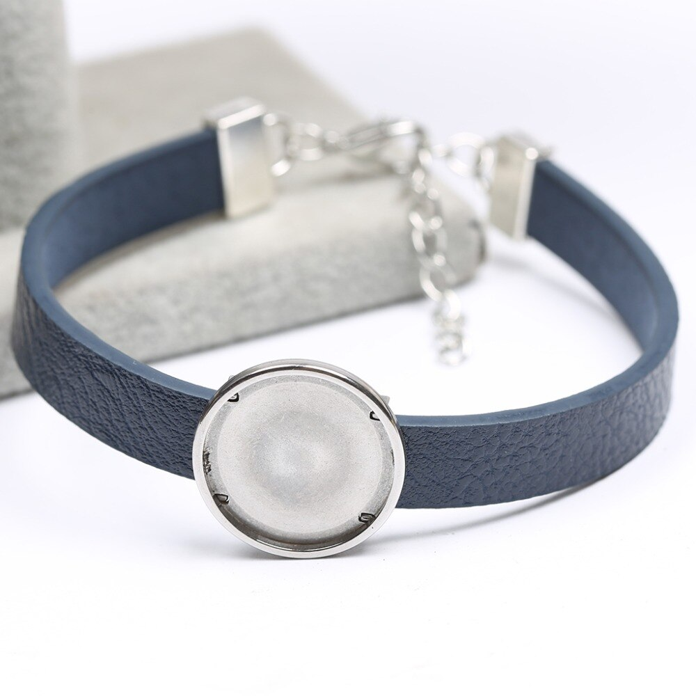 onwear 5pcs 20mm dia faux leather bracelet cabochon base setting diy blank cuff bangle bezel trays for jewelry making