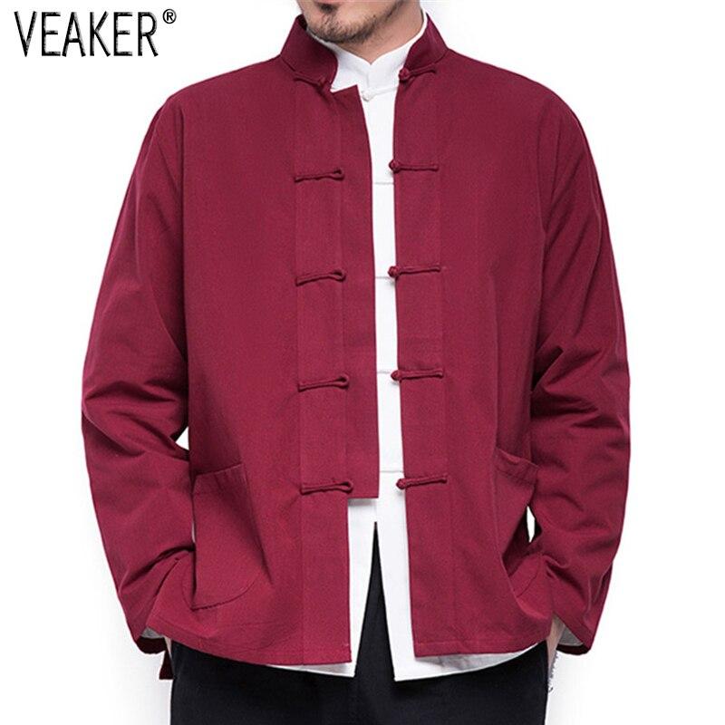 2019 otoño nuevo abrigo de lino y algodón de estilo chino para hombres cárdigan Kimono suelto chaqueta de lino de Color sólido para hombres abrigos M-5XL