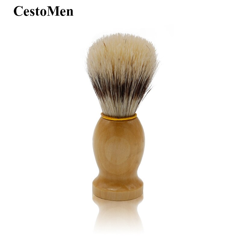CestoMen Beard Foam Wet Shaving Brush 100% Boar Bristle Wood Handle Facial Hair Cleaning Beard Razor Brush Men's Grooming Tools