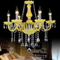 Kitchen Chandelier lighting for home lighting 6 Lights Avize lustre de cristal with lampshade modern crystal chandelier lamp