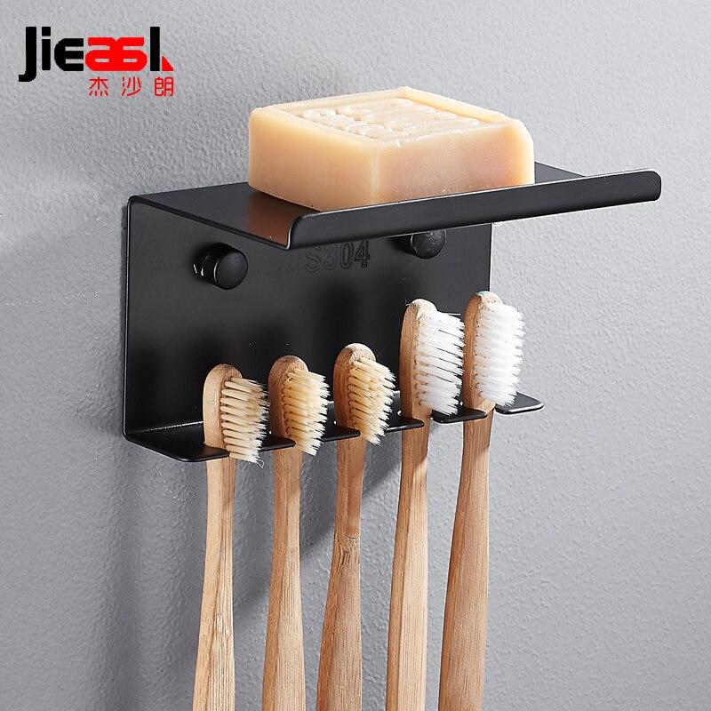 مجموعة من 304 حامل فرشاة أسنان من الفولاذ المقاوم للصدأ ، حامل حائط ، فرشاة أسنان سوداء ، منظم ملحقات الحمام