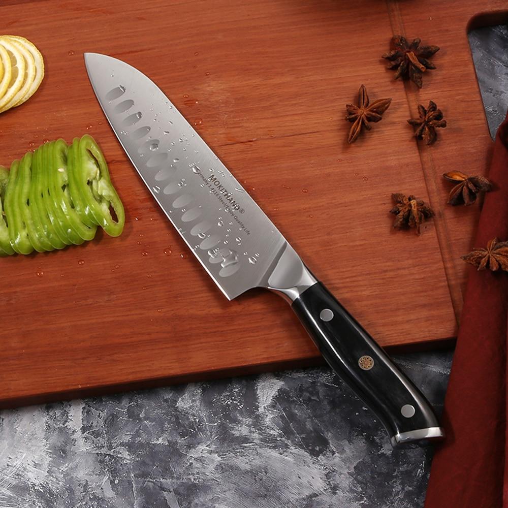 Mokithand 7 inch Santoku Knives Professional Japanese Kitchen Knife High Carbon Germany 1.4116 Steel Chef Knife with Pakka Wood
