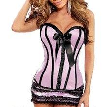 Женское сексуальное женское корсетное белье с пуш-апом, розовая кнопка, гофрированные облегающие Корсеты с бантом, большие размеры, корсеты...